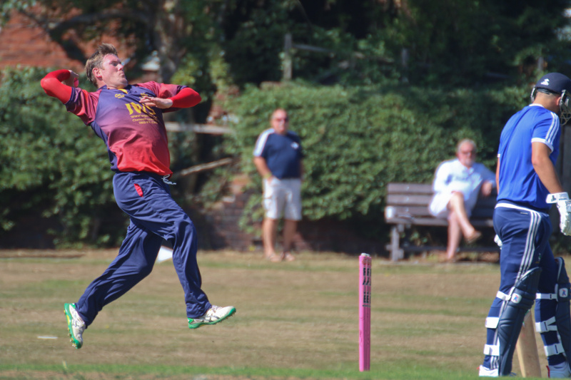 Steve Burdett bowls for Woodhouse Grange