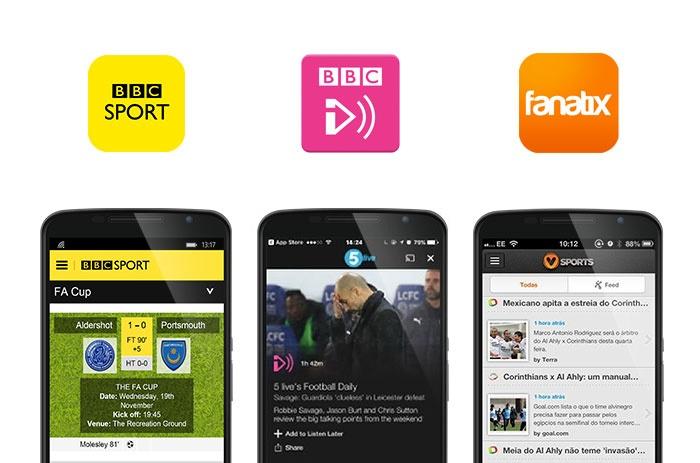BBC Sport, BBC iPlayer Radio and Fanatix app screenshots