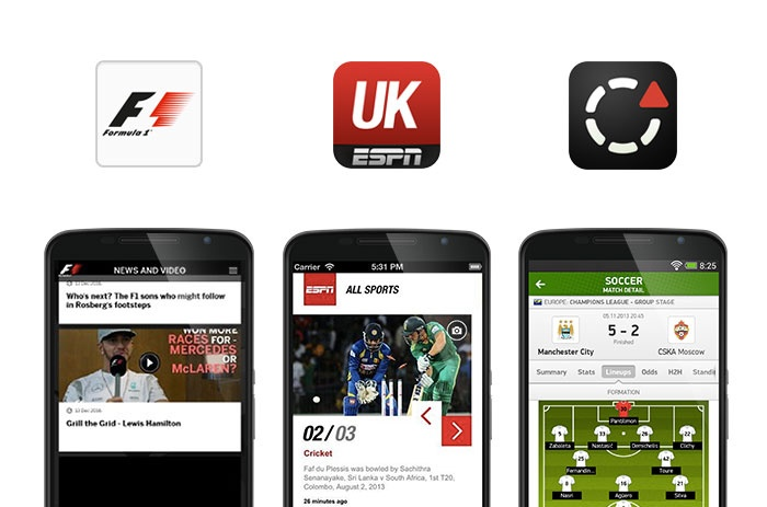 Official F1, ESPN UK and Flash Score app screenshots
