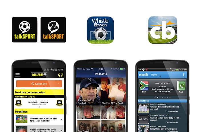 talkSPORT, Whistleblowers and Cricbuzz app screenshots