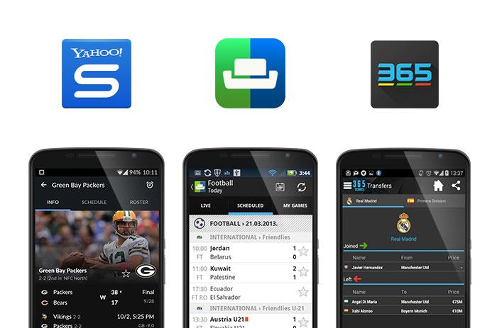 Yahoo sports, SofaScore and 365Scores app screenshots