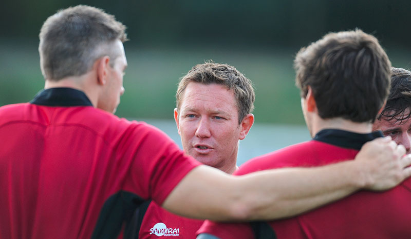 rugby coach talk to his players