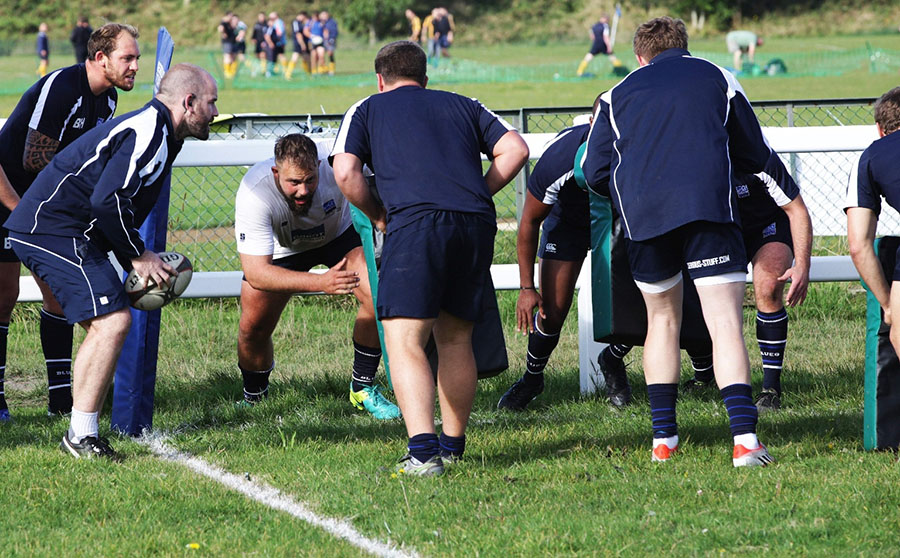 rugby player training hard
